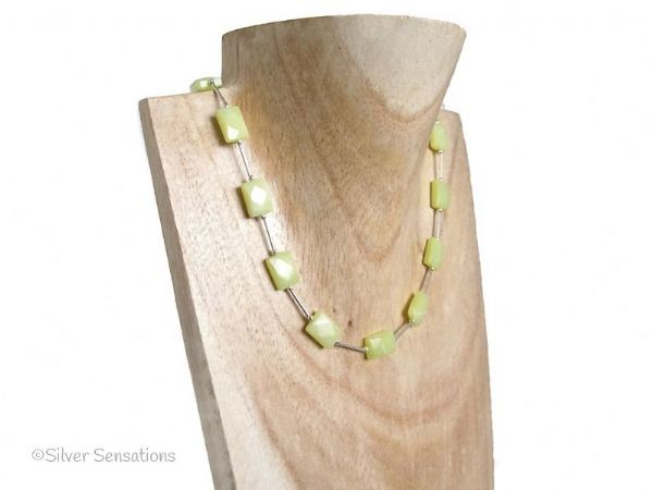 Lemon Yellow Olive Jade Faceted Oblongs & Sterling Silver Tubes Necklace | Silver Sensations